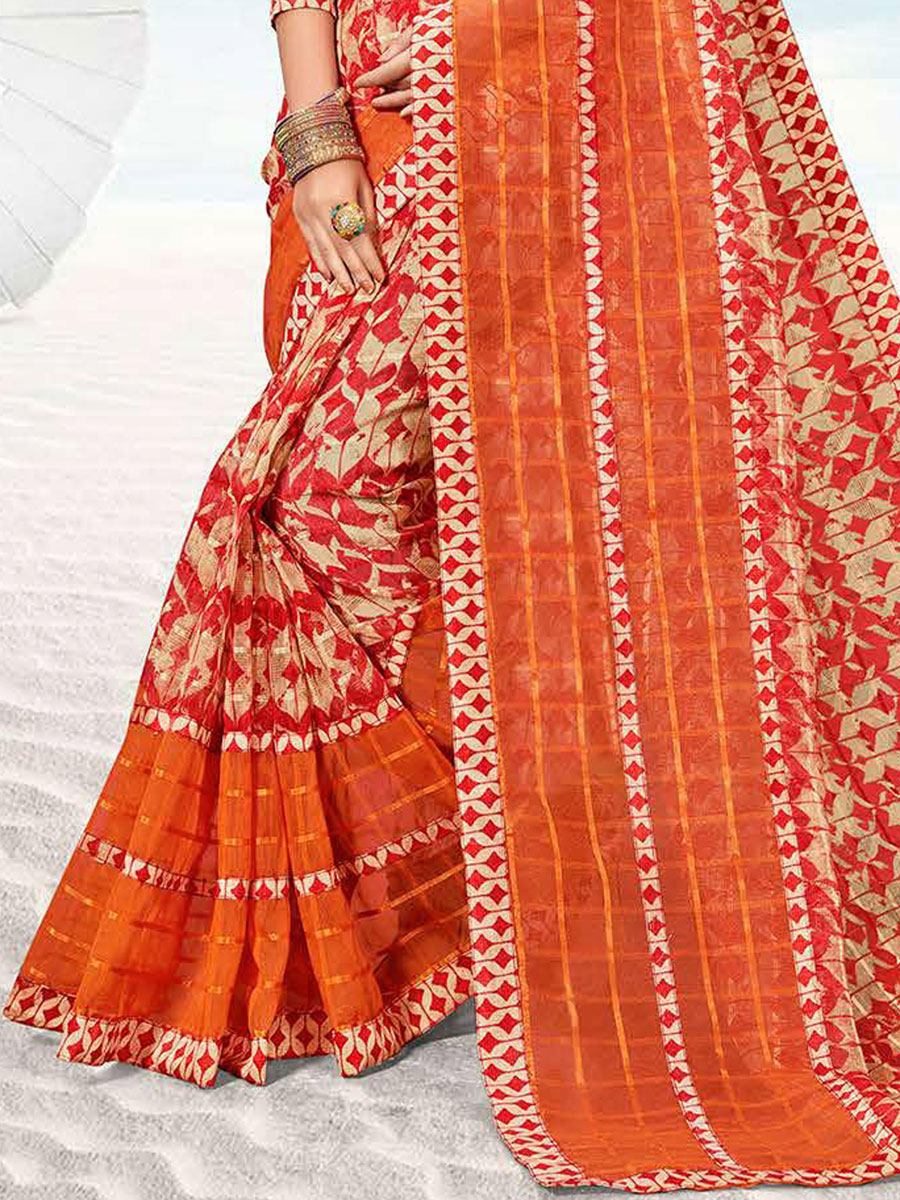 Persimmon Red and Beige Yellow Kota Printed Festival Saree