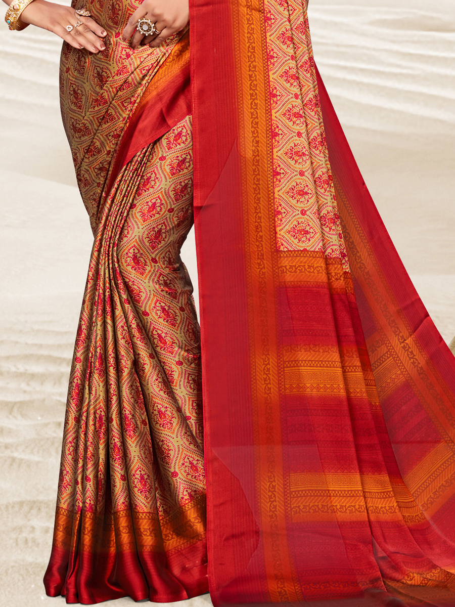 Beige Yellow and Venetian Red Crepe Printed Festival Saree