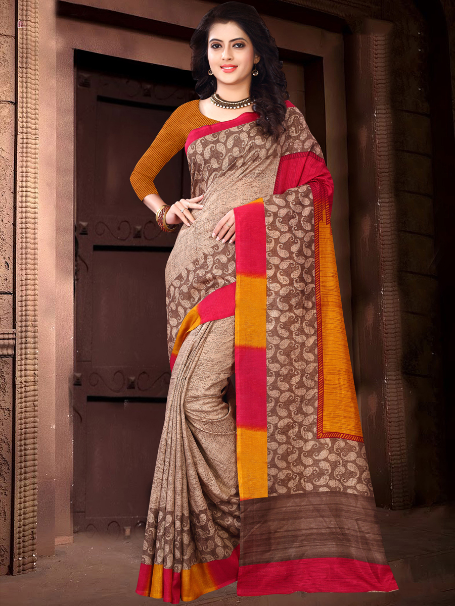 Light Brown and Burnt Orange Silk Printed Casual Saree