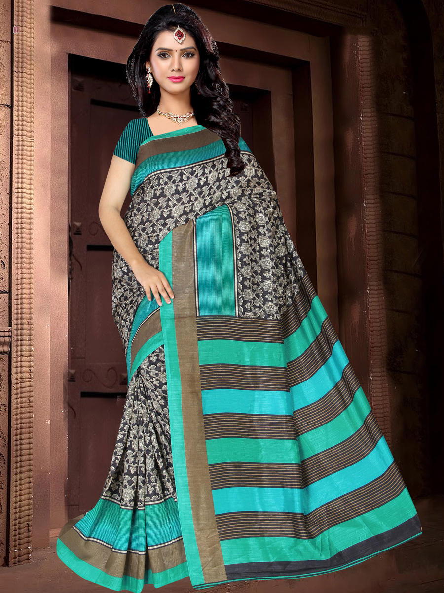 Black and Jungle Green Silk Printed Casual Saree