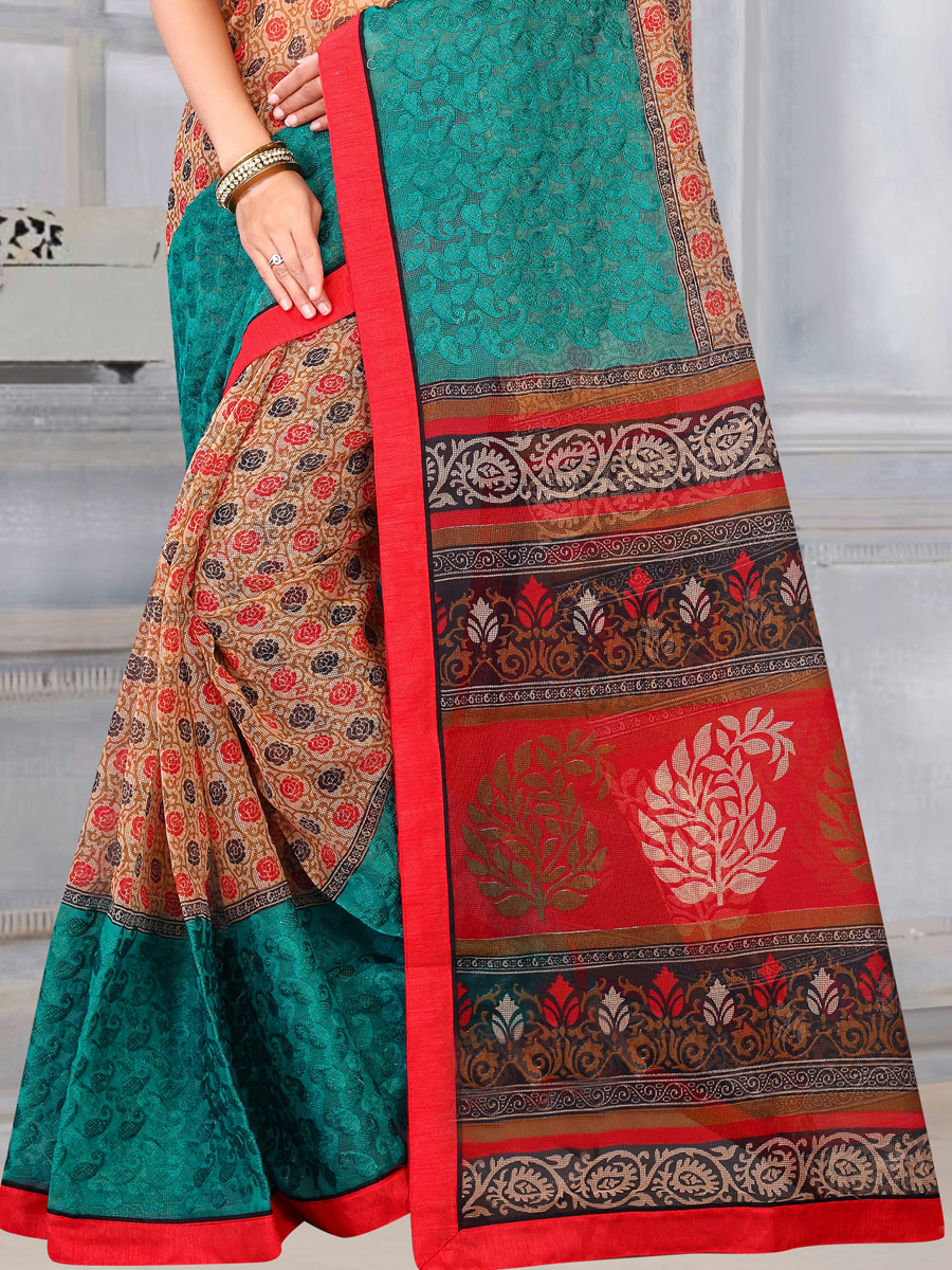 Cream Yellow and Persian Green Kota Printed Casual Saree