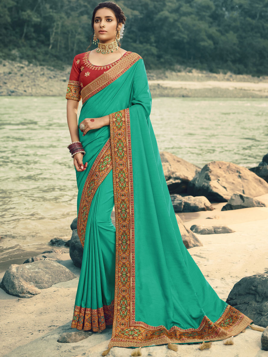 Turquoise Blue Vichitra Silk Embroidered Festival Saree