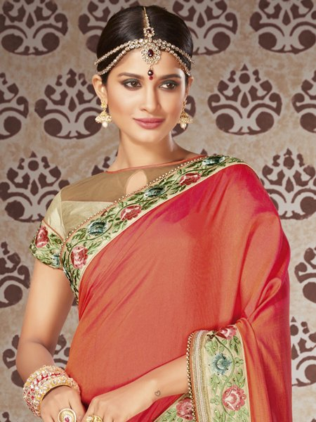 Burnt Orange and Cream Yellow Art Silk and Net Embroidered Party Saree