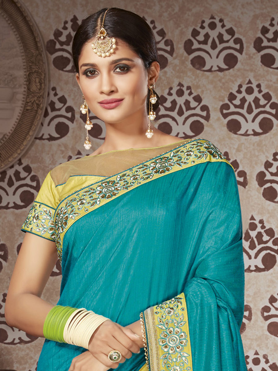 Teal Blue and Tea Green Art Silk and Net Embroidered Party Saree