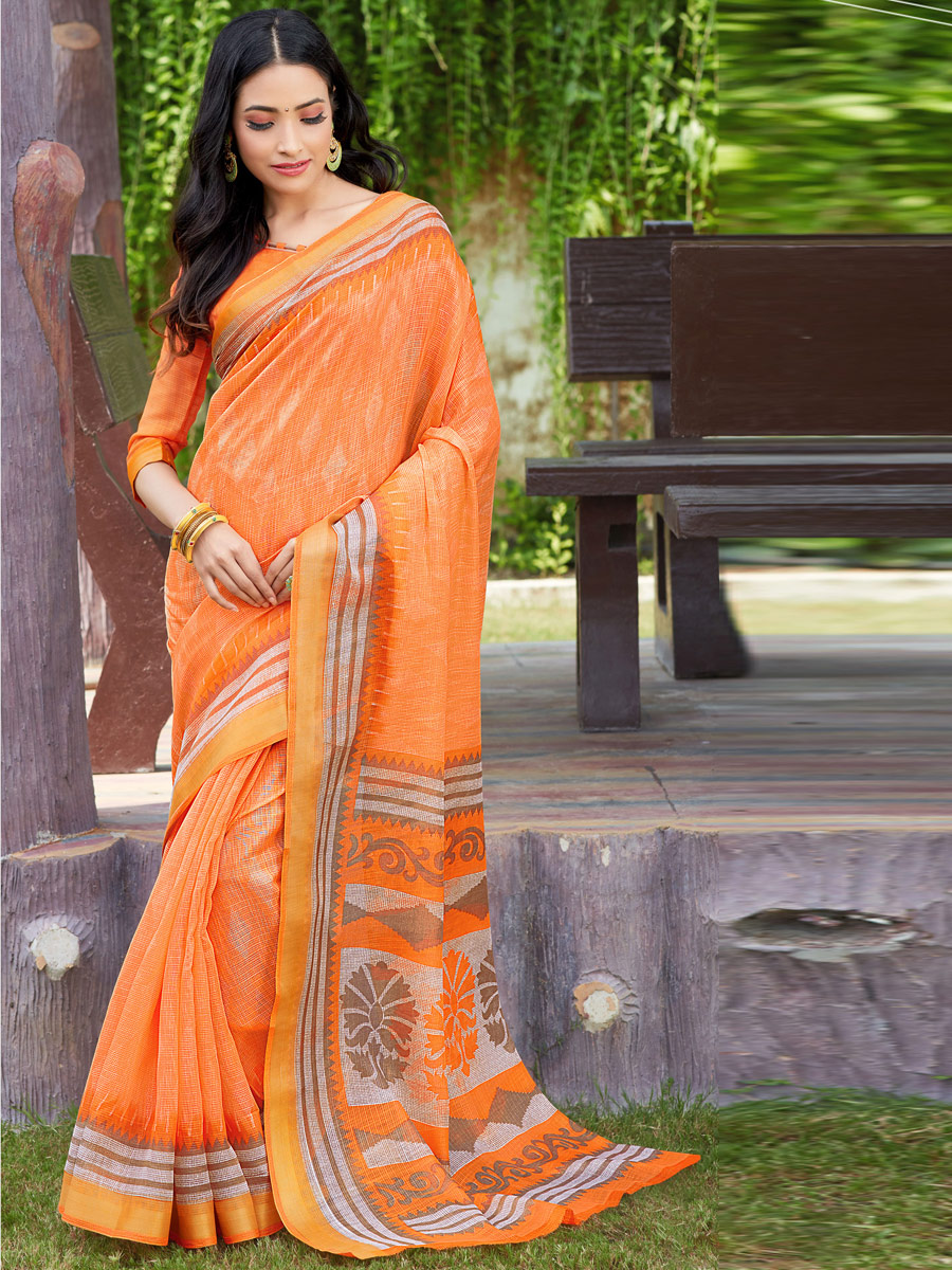Coral Orange Cotton Printed Casual Saree
