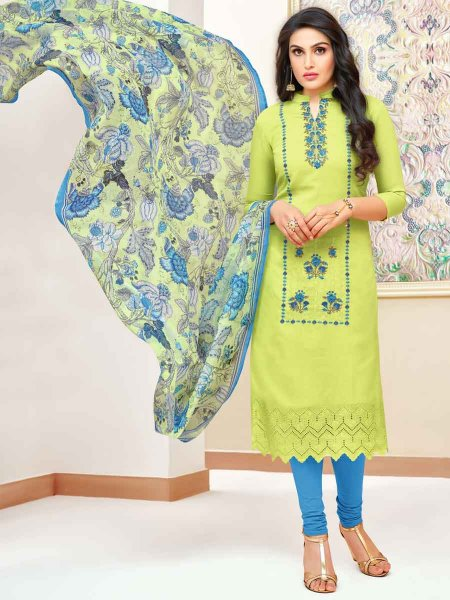 Parrot Green Silk Embroidered Festival Churidar Pant Kameez