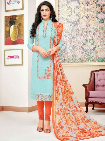 Sky Blue Silk Embroidered Festival Churidar Pant Kameez