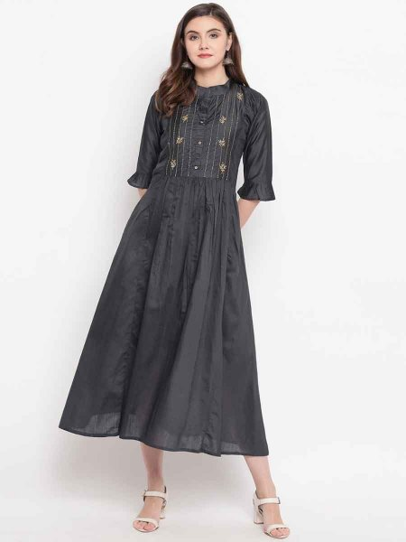 Black Cotton Silk Embroidered Festival Kurti