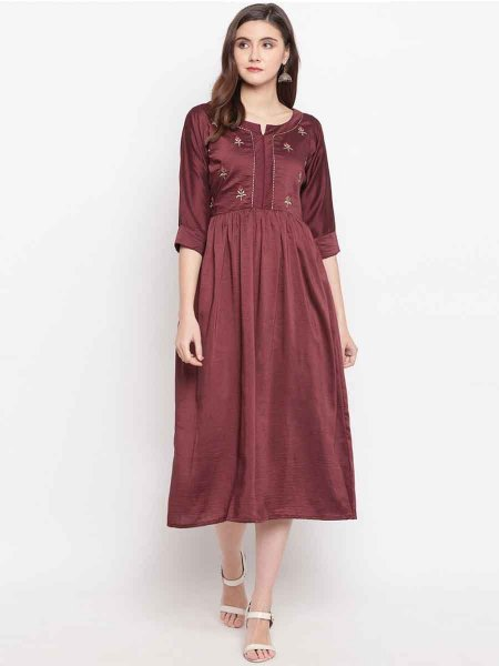 Maroon Cotton Silk Embroidered Festival Kurti