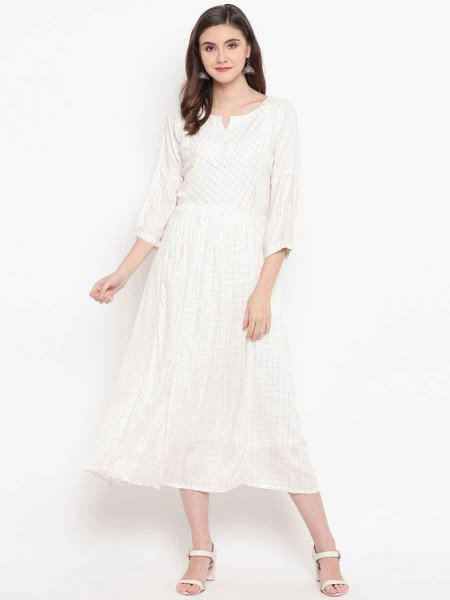 Off-White Cotton Silk Plain Festival Kurti