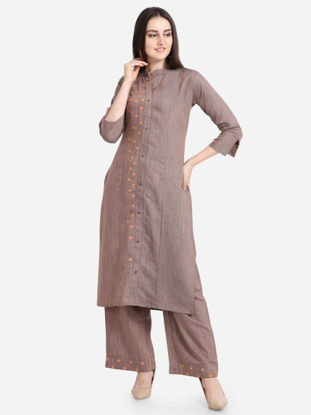 Light Brown Rayon Embroidered Casual Kurti