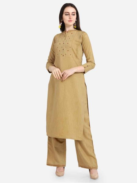 Beige Yellow Rayon Embroidered Casual Kurti