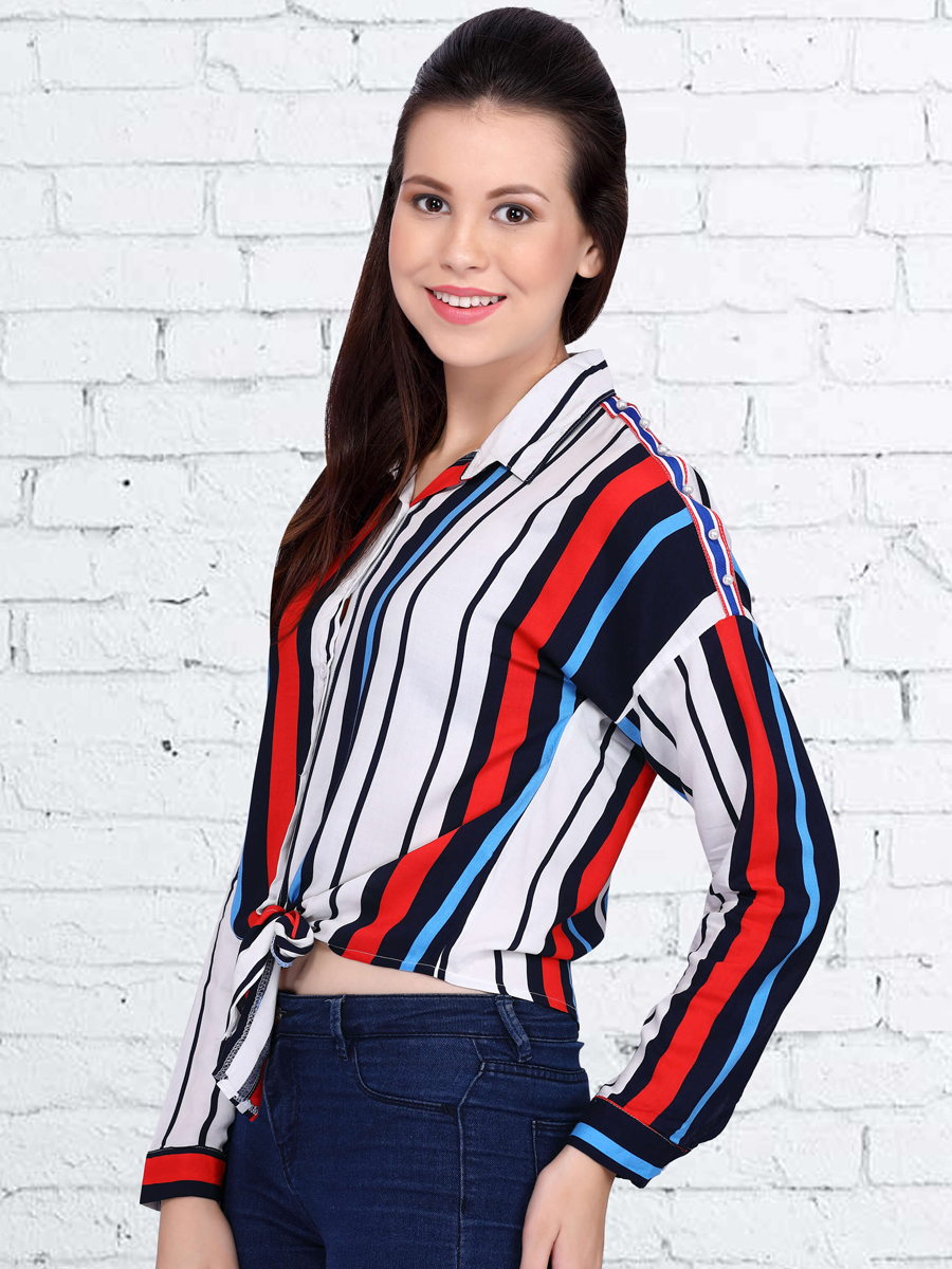 White and Red Rayon Printed Casual Top