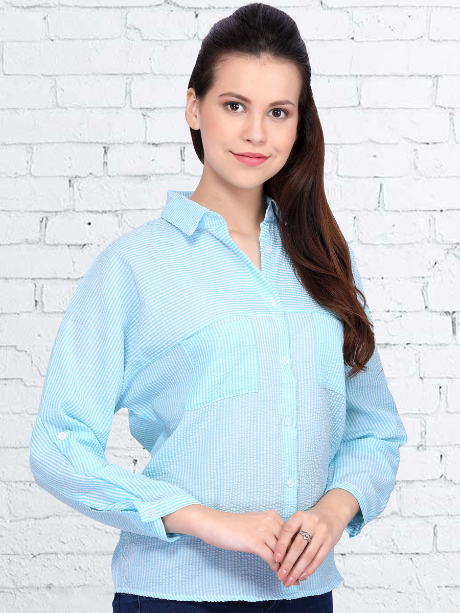 Sky Blue Polyster Printed Casual Top