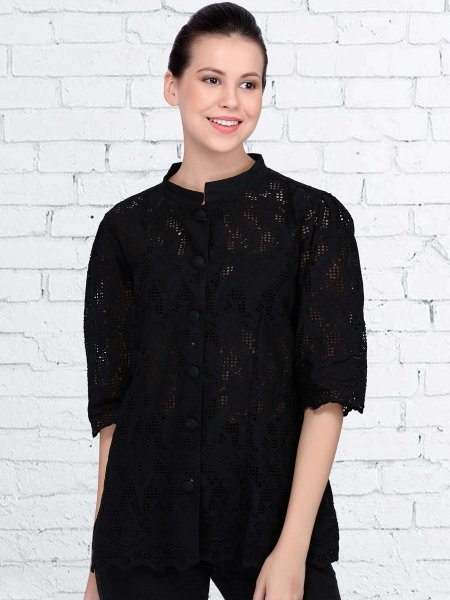 Black Cotton Embroidered Casual Top