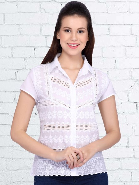 White Cotton Embroidered Casual Top