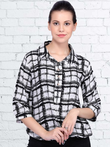 White and Black Rayon Printed Casual Top