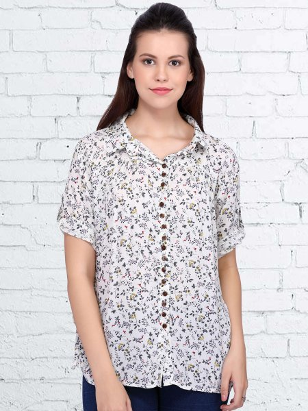 White Rayon Printed Casual Top