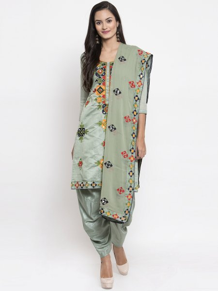 Light Camouflage Green Chanderi Silk Embroidered Festival Patiala Pant Kameez