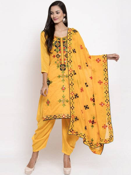 Amber Yellow Chanderi Silk Embroidered Festival Patiala Pant Kameez