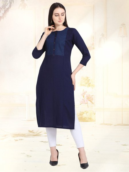 Navy Blue Rayon Embroidered Casual Kurti