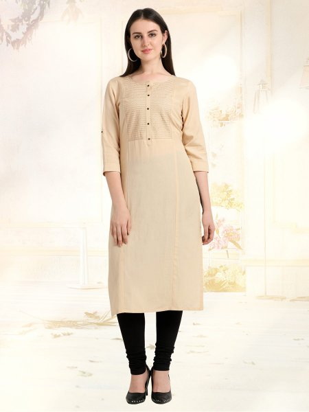 Cream Yellow Rayon Embroidered Casual Kurti