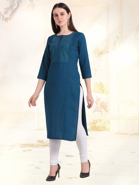 Cerulean Blue Rayon Embroidered Casual Kurti