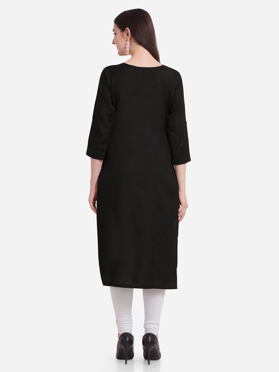 Black Rayon Embroidered Casual Kurti
