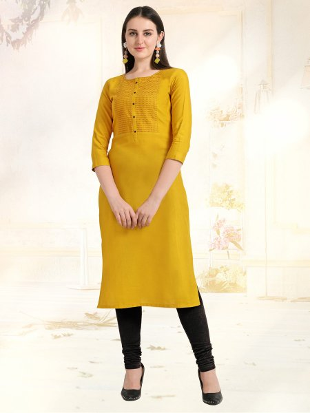 Mustard Yellow Rayon Embroidered Casual Kurti