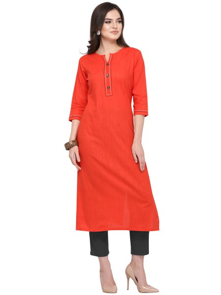 Vermilion Red Cotton Plain Casual Kurti