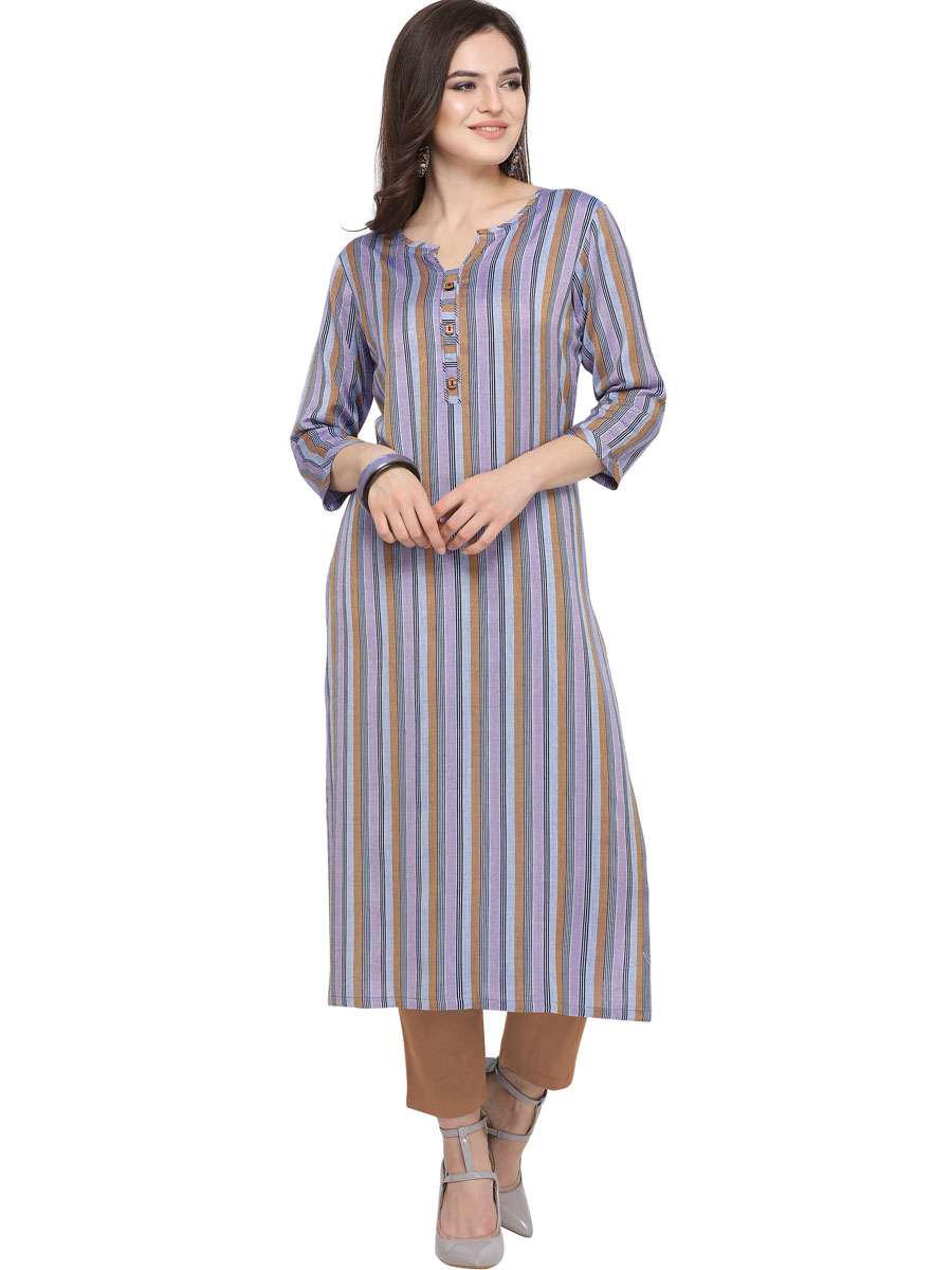 Light Purple and Brown Cotton Printed Casual Kurti