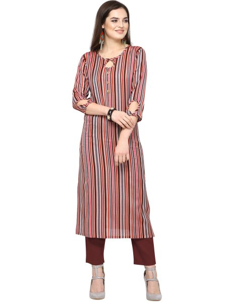 Maroon and Light Pink Cotton Printed Casual Kurti