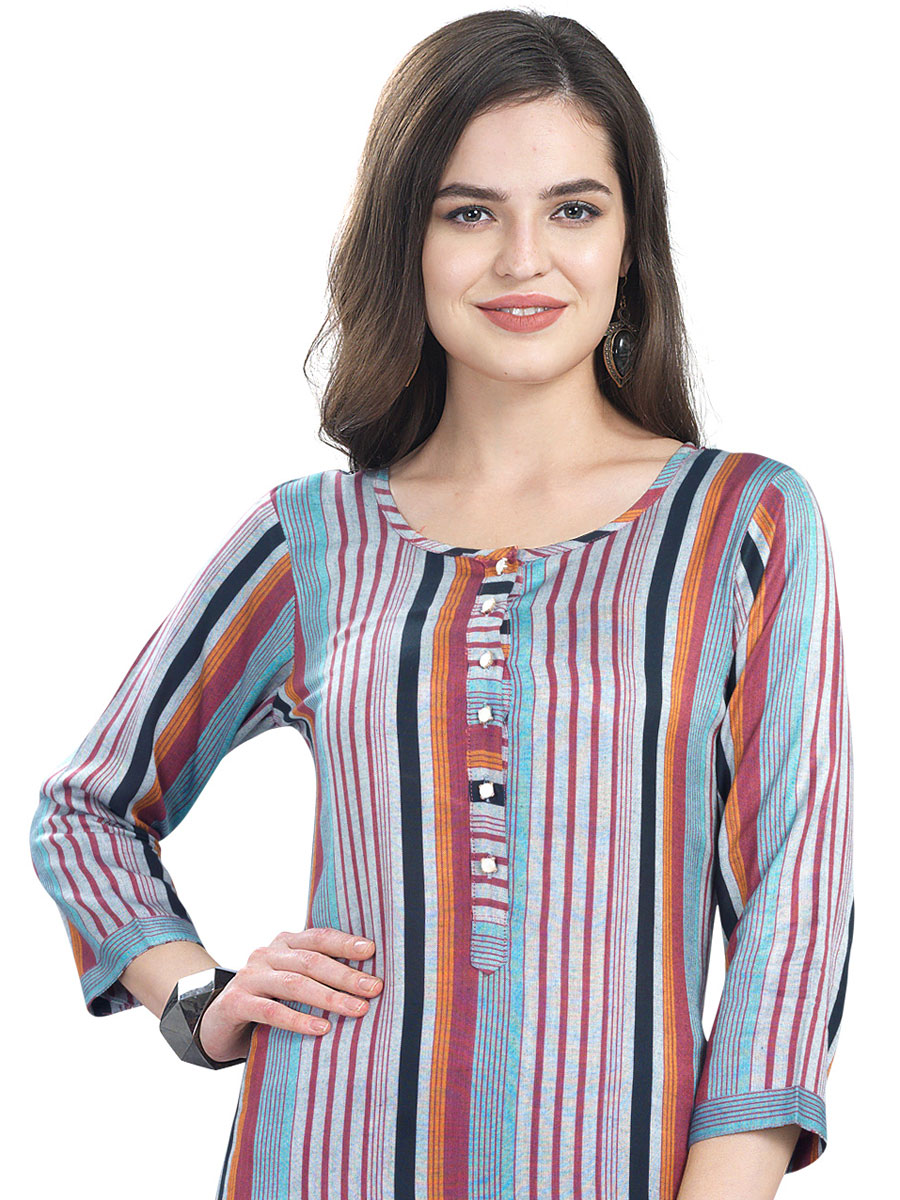 Sky Blue and Light Brown Cotton Printed Casual Kurti