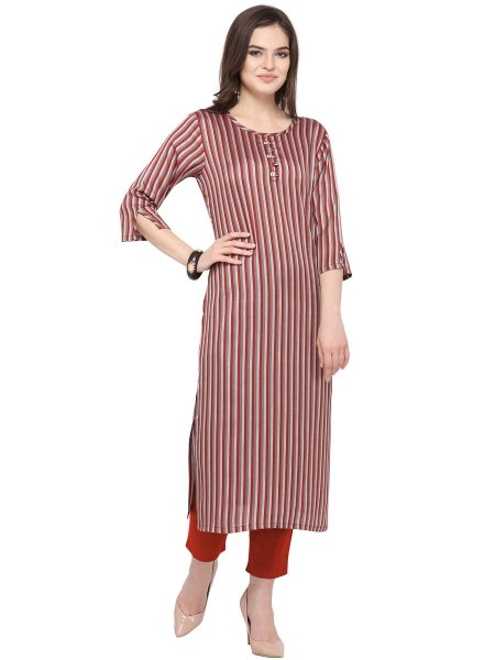 Maroon and Gray Cotton Printed Casual Kurti