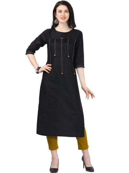 Black Cotton Plain Casual Kurti