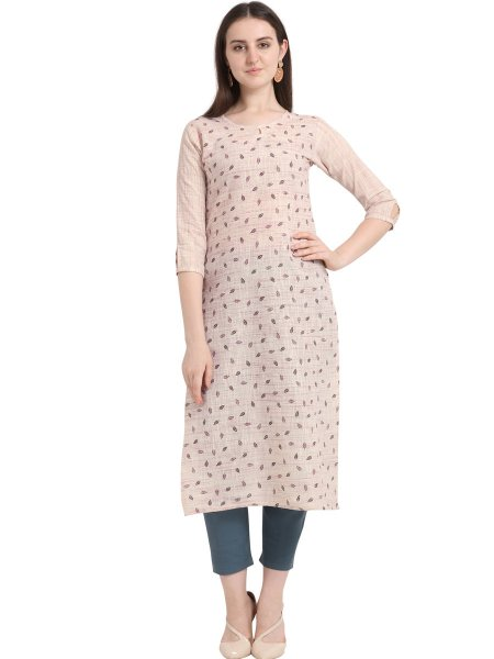 Cream Yellow Cotton Printed Casual Kurti
