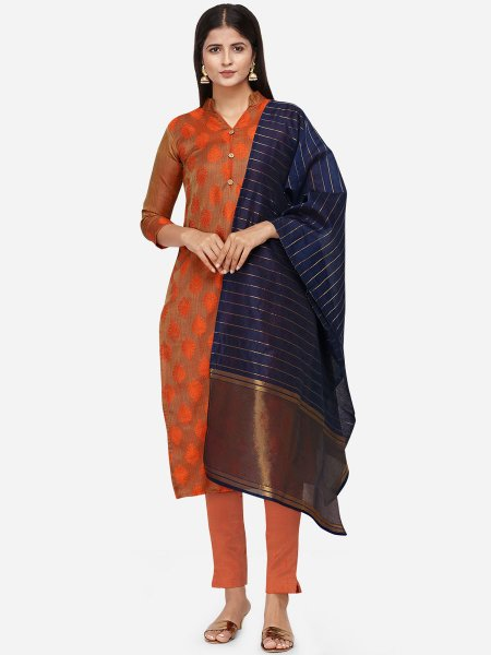 Sienna Brown Satin Cotton Handwoven Festival Pant Kameez