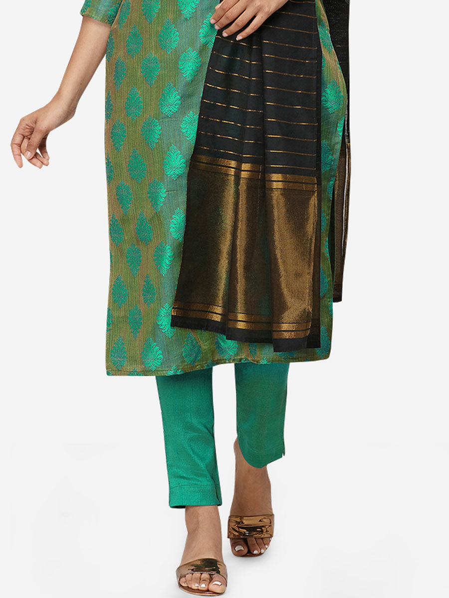 Persian Green Satin Cotton Handwoven Festival Pant Kameez