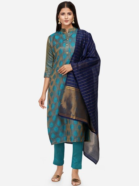 Deep Sky Blue Satin Cotton Handwoven Festival Pant Kameez