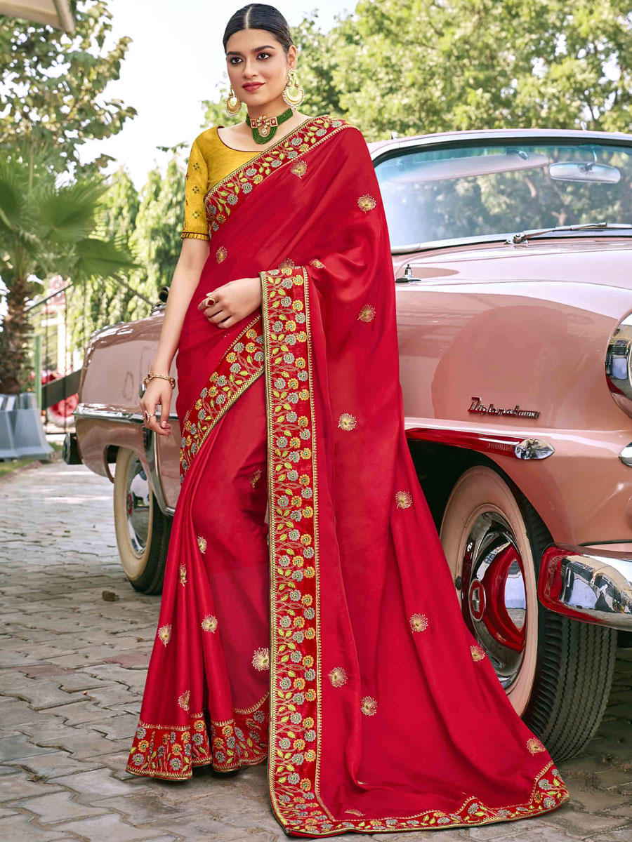 Rose Madder Red Satin Silk Embroidered Festival Saree