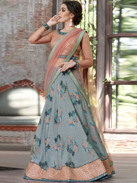 Columbia Blue Silk Embroidered Party Lehenga Choli