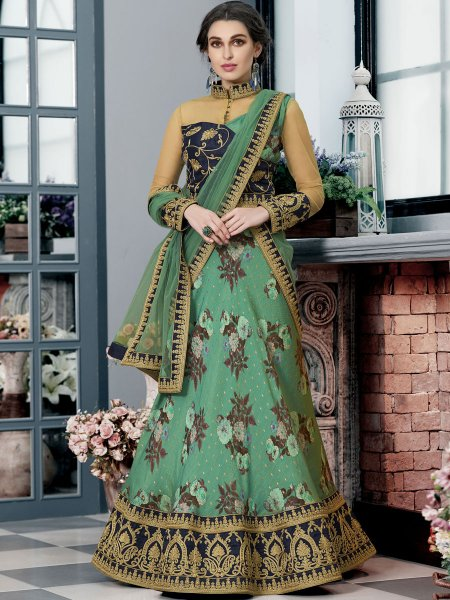 Jungle Green Silk Embroidered Party Lehenga Choli