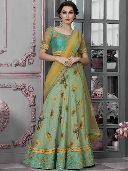 Persian Green Silk Embroidered Party Lehenga Choli