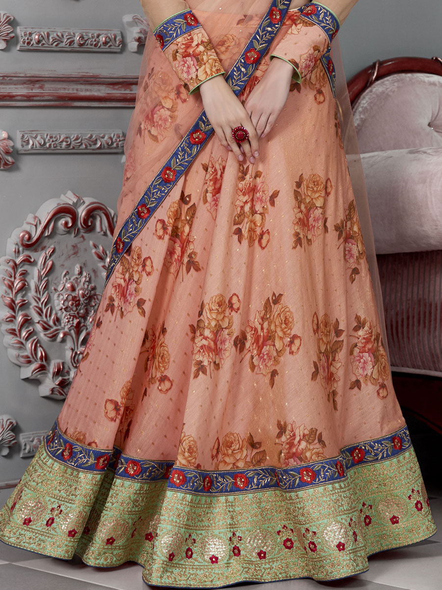Coral Pink Silk Embroidered Party Lehenga Choli