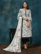 White and Black Crepe Printed Party Pant Kameez