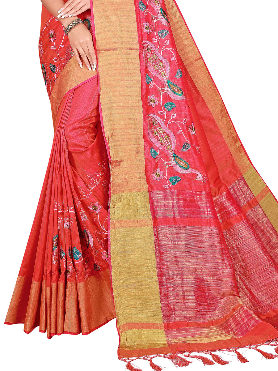 Crimson Red Silk Embroidered Party Saree