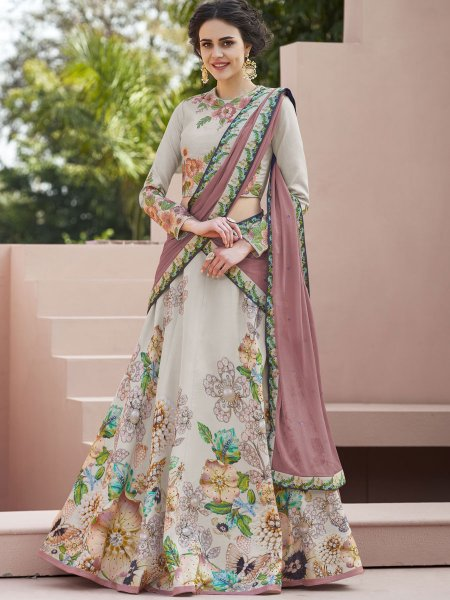Tea Green Satin Silk Embroidered Festival Lehenga Choli