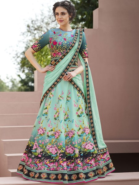 Light Green Satin Silk Embroidered Festival Lehenga Choli