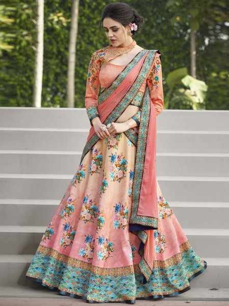 Light Pink and Beige Yellow Satin Silk Embroidered Festival Lehenga Choli