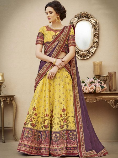 Maize Yellow Banarasi Silk Printed Party Lehenga Choli